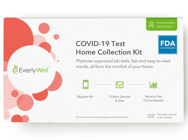 Product box for Everlywell's COVID-19 collection kit