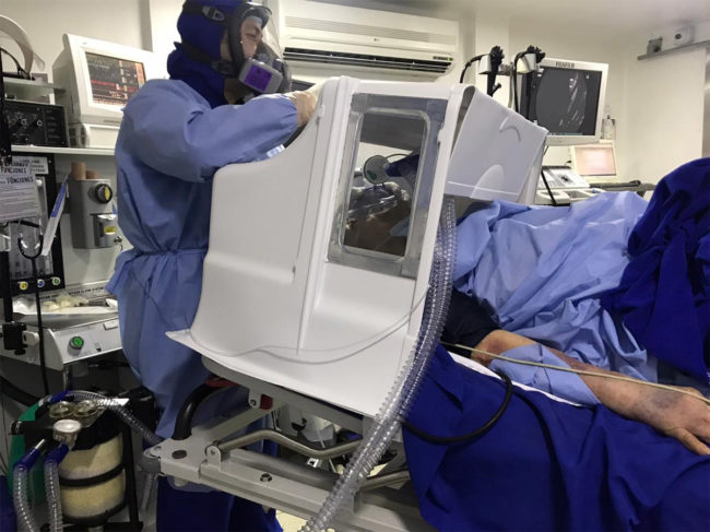 Aerobox in use with patient