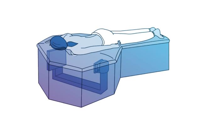 Artist's rendering of patient lying on Izotropic's 3D breast CT scanning platform