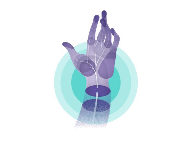 Illustration of nerves in hand