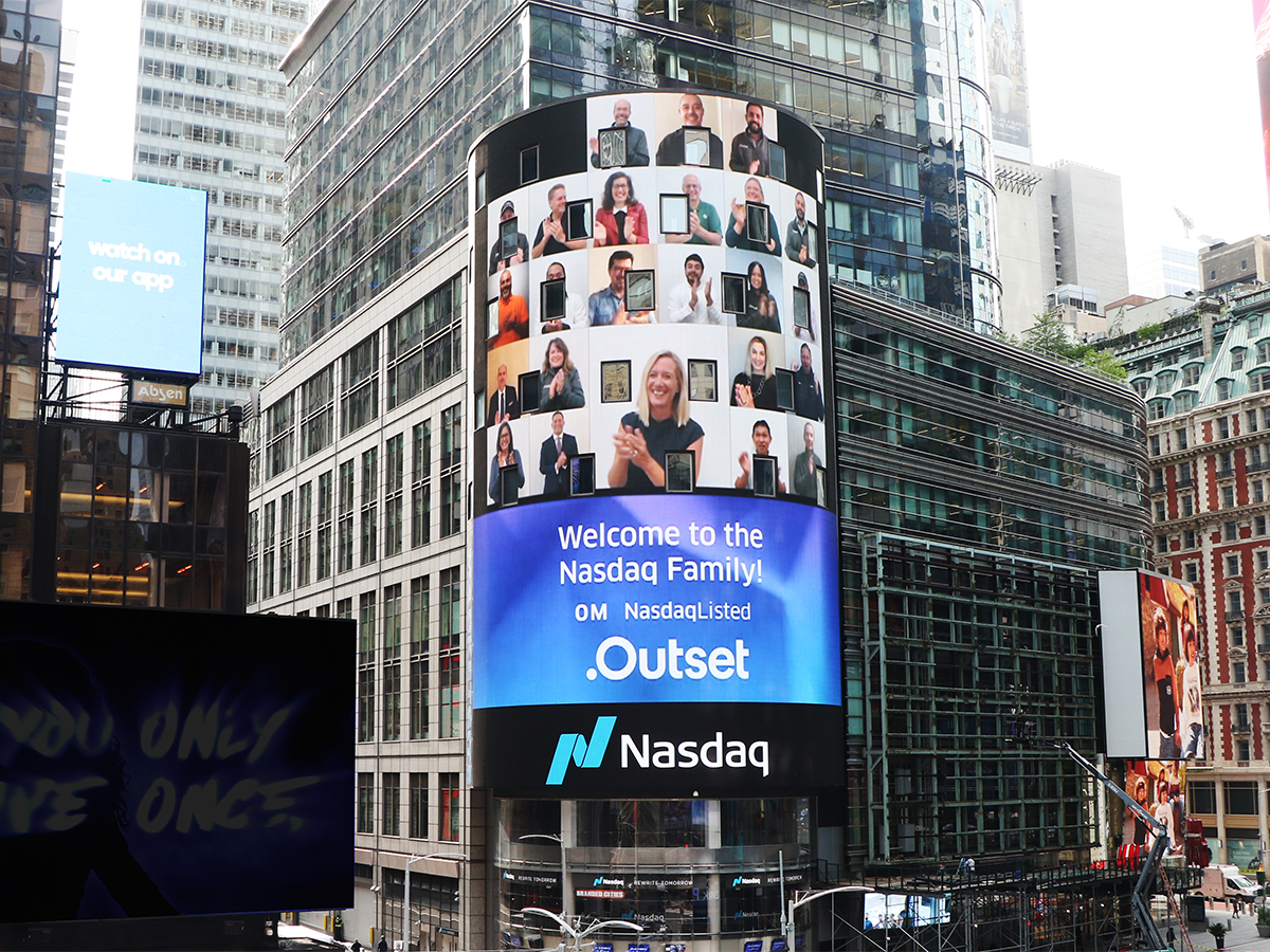 Nasdaq welcomes Outset on signboard in New York
