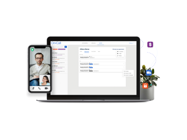 Smartphone video chatting, computer screen with software