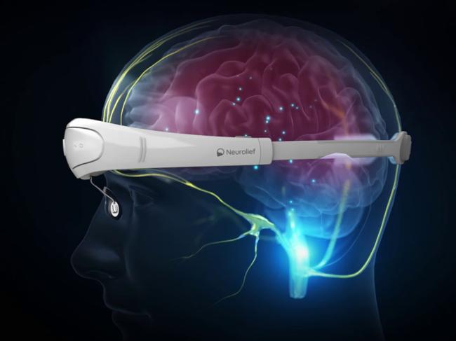 Device overlayed on transparent head illustration