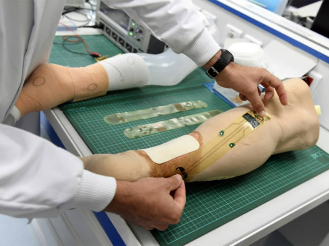Artificial skin applied to models of the lower leg