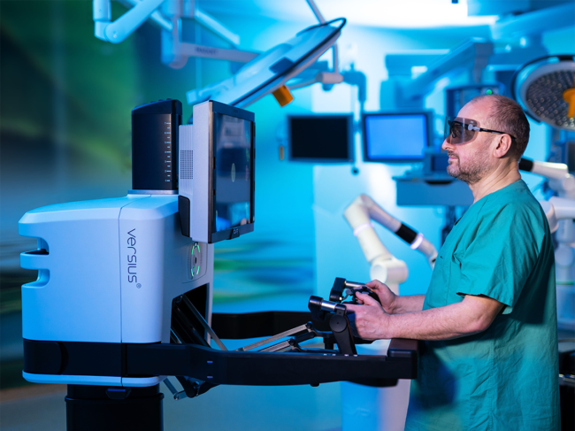 Surgeon at Versius console