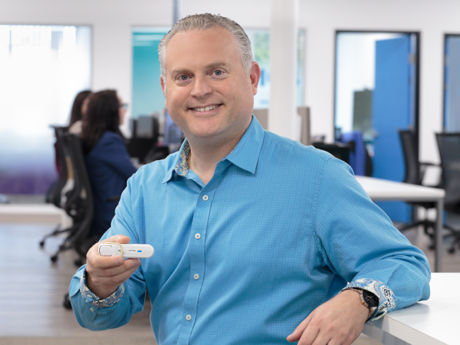CEO Rob Sambursky holding Febridx