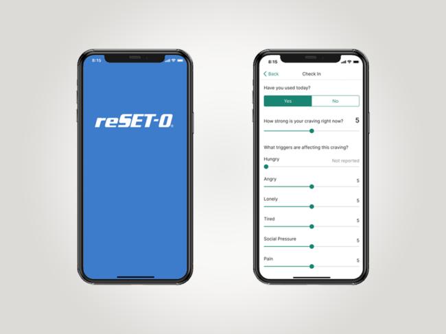 Screen views of Reset-O on smartphones