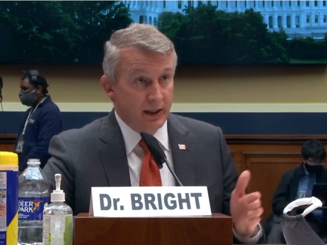 Richard Bright testifying before House subcommittee