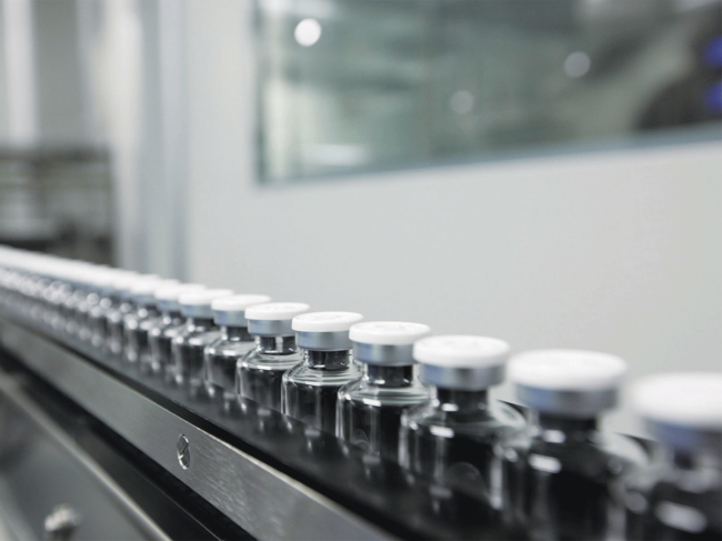 Vials on production line