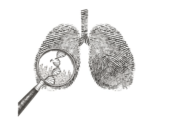Fingerprints in shape of lungs with magnifying glass and DNA