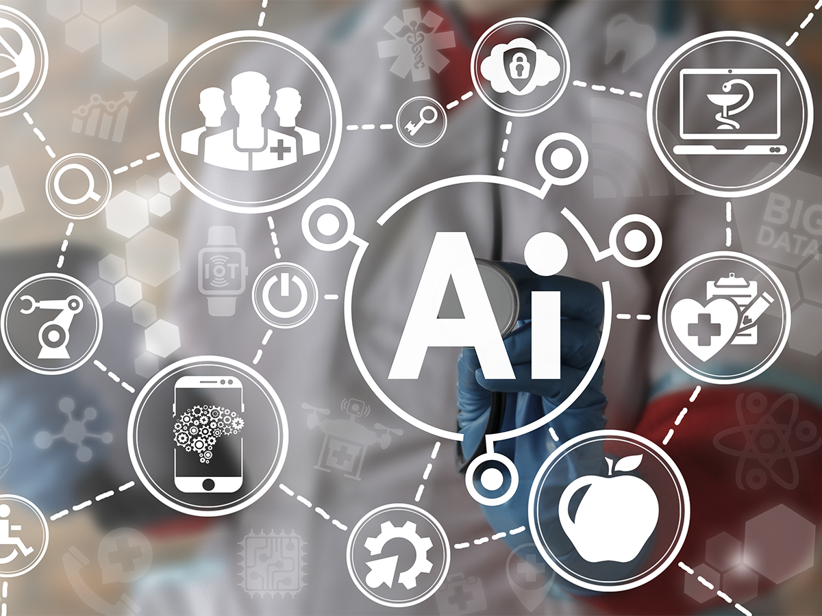 Artificial intelligence and digital health icons