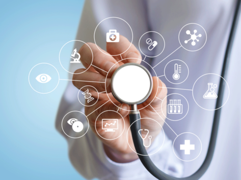 Health professional holding stethoscope with health icons