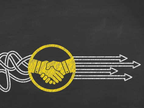 Deal handshake arrows chalkboard