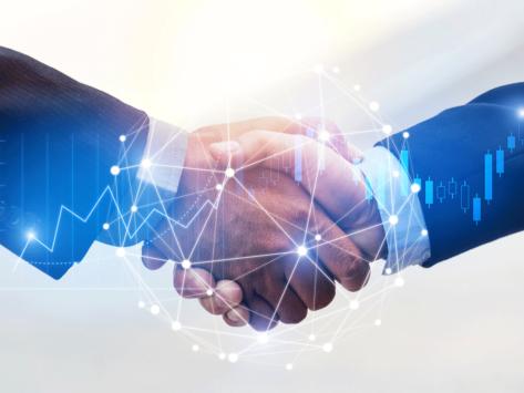 Deal handshake graphic overlay