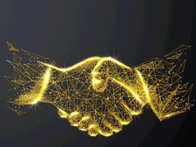 Gold wireframe handshake