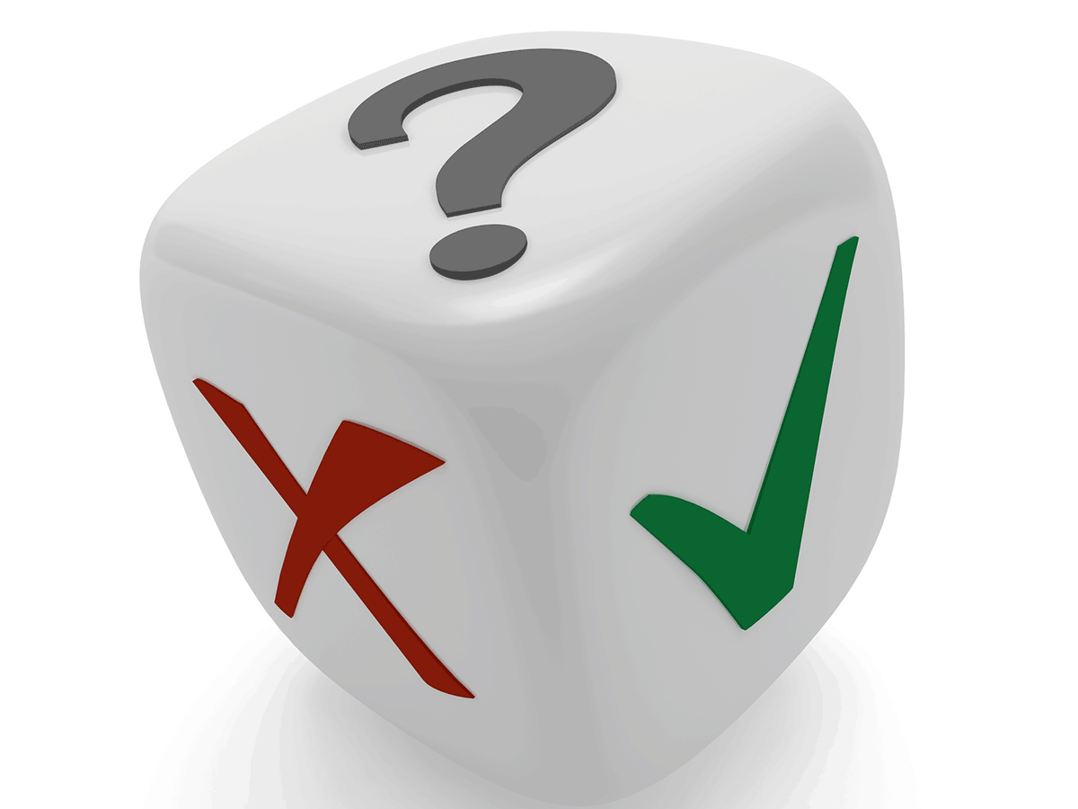 One dice with a green checkmark, red X and gray question mark.