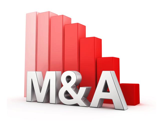 M&A with declining bar chart