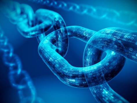 Chain links composed of binary code