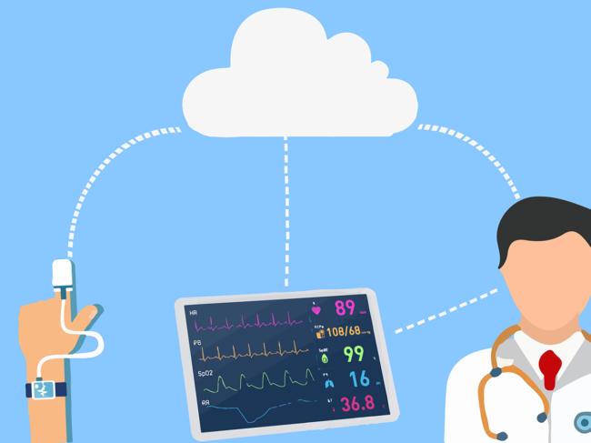 Remote patient monitoring concept illustration