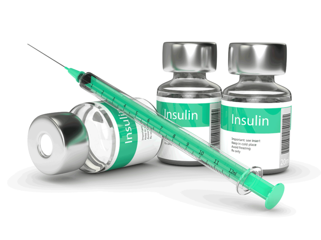 Insulin vials and syringe
