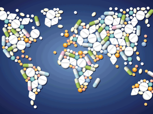 World map made of pills