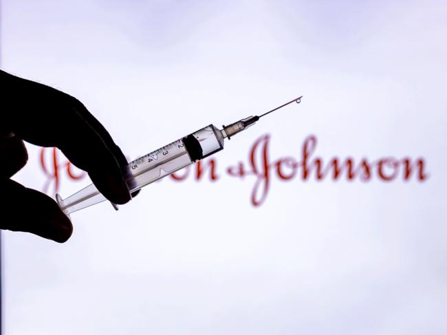 Syringe with Johnson & Johnson logo