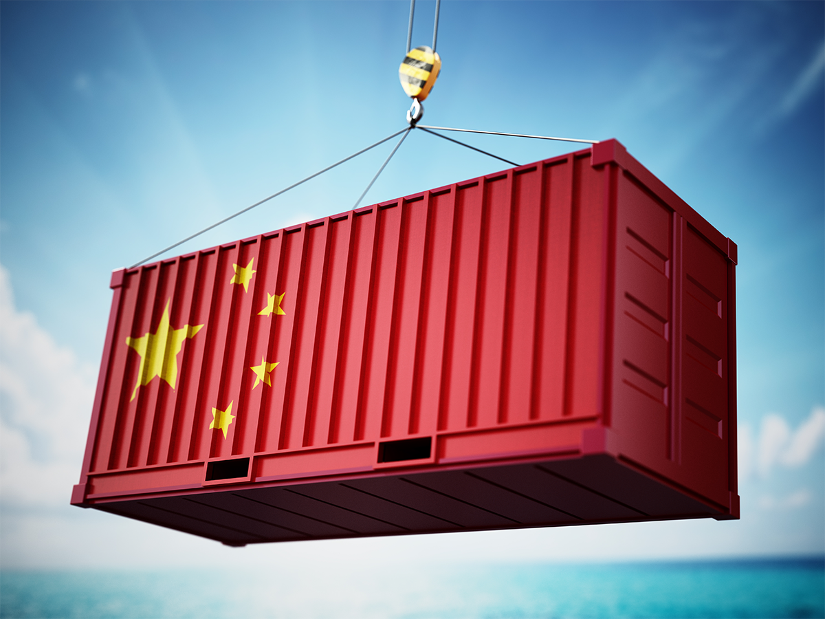 Shipping container with flag of China
