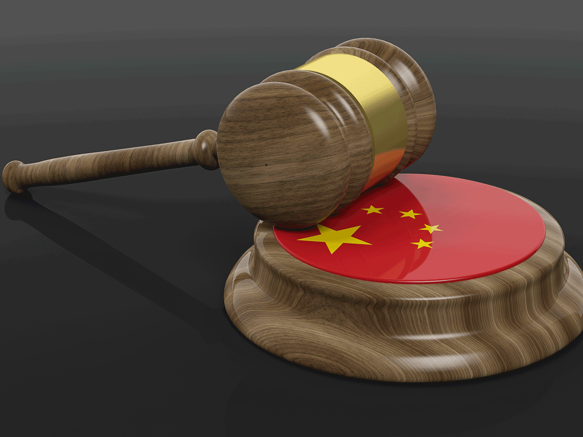 Gavel and block with Chinese flag
