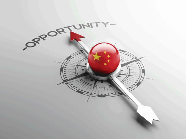Opportunity compass with Chinese flag