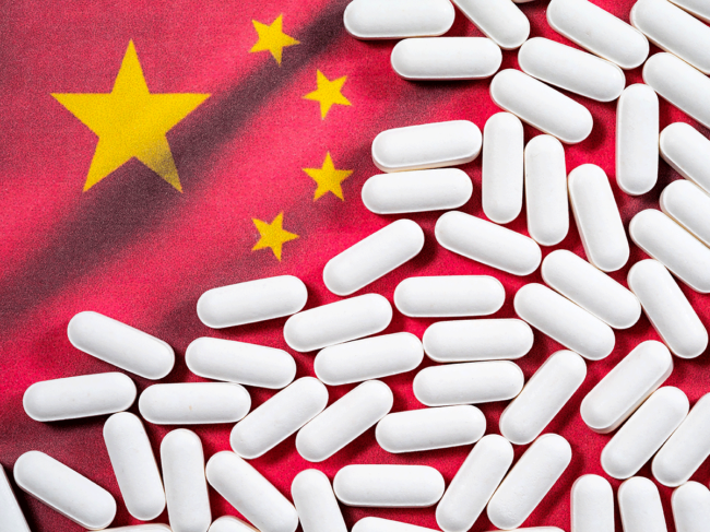 Chinese flag and pills