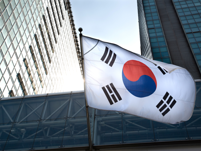 South Korean flag on building