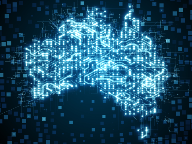 Map of Australia as blue circuit board, digital network