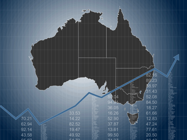 Map of Australia, stock chart