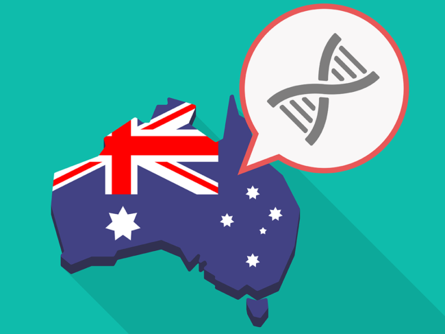 Australia map and flag with double helix