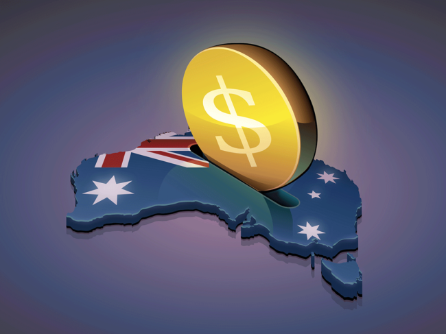 Coin inserted into Australian map