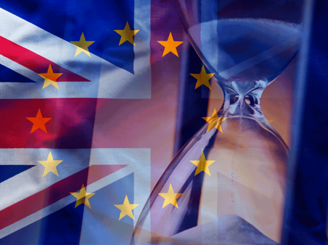 Brexit hourglass illustration