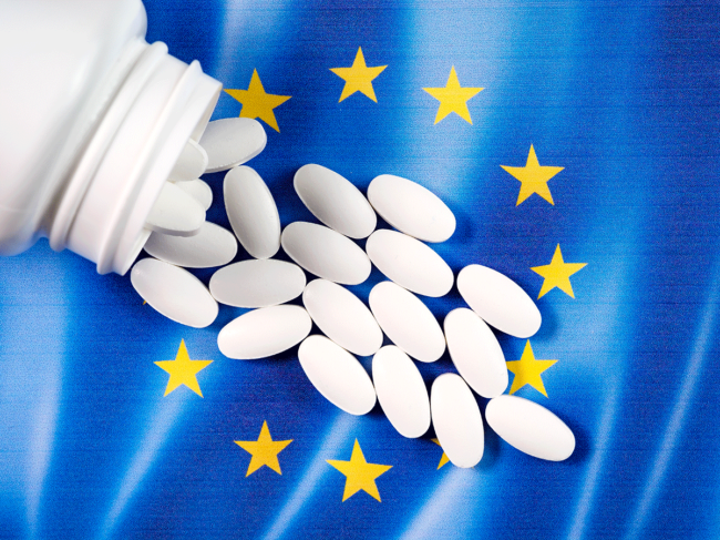 EU flag and pills