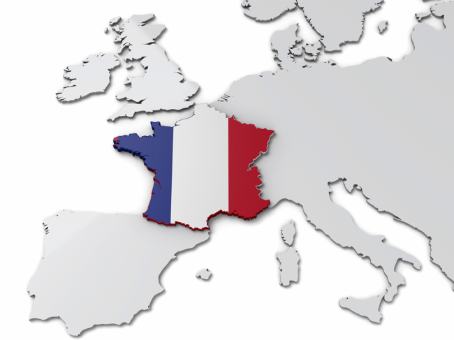 Map of Europe, France filled in with French flag