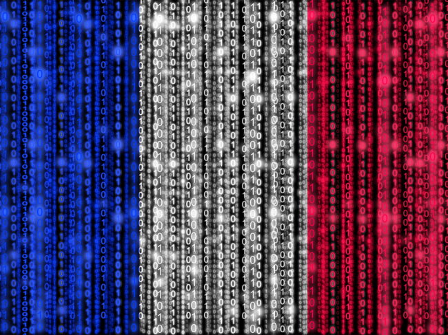 French flag composed of binary code