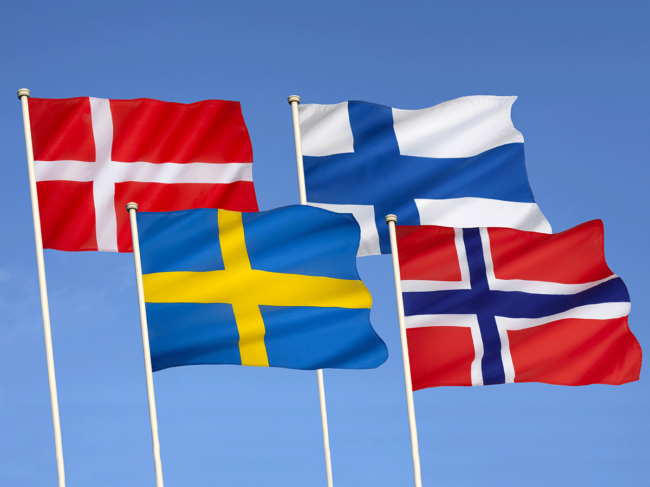 Flags of Denmark, Sweden, Finland and Norway