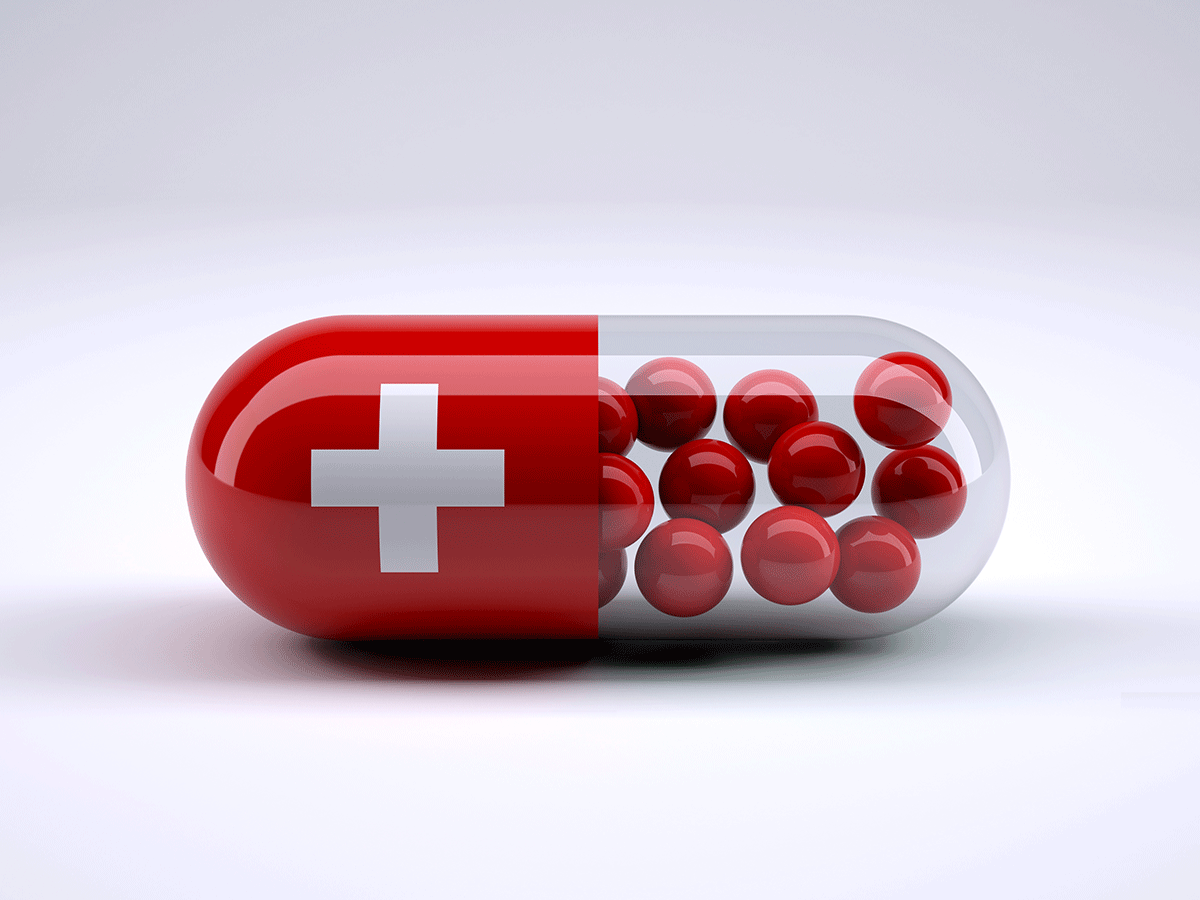 Capsule with Swiss flag