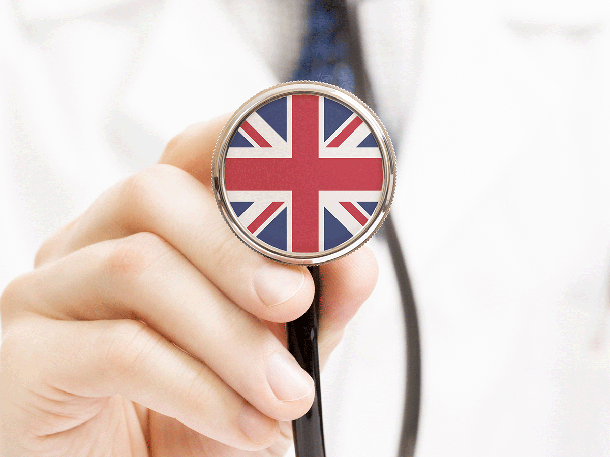 U.K. flag on stethoscope