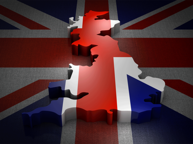 United Kingdom flag, map