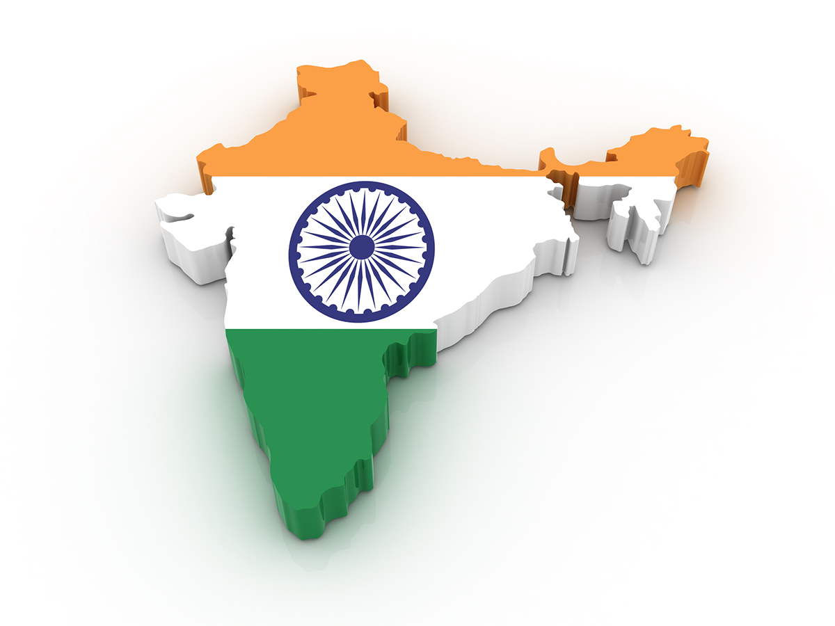 Map, flag of India