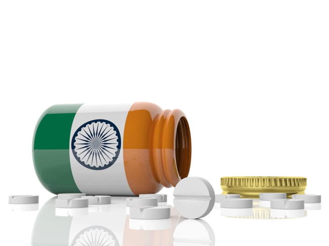 Pill bottle with flag of India