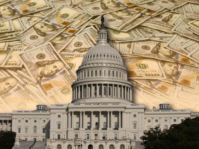 U.S. Capitol and $100 bills
