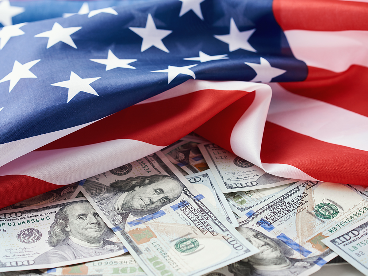U.S. flag and money
