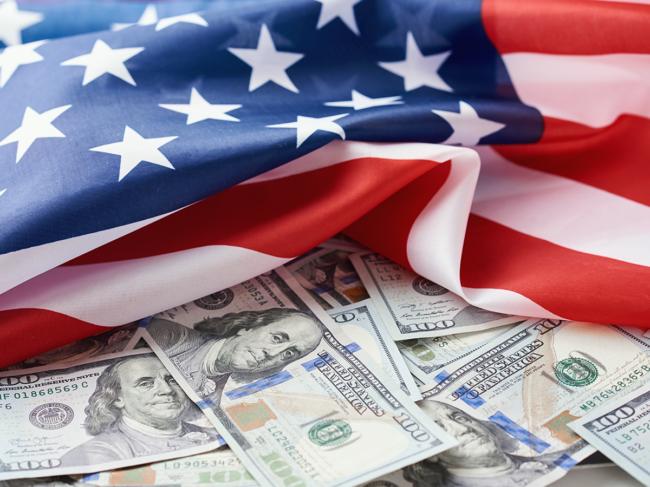 U.S. flag and money