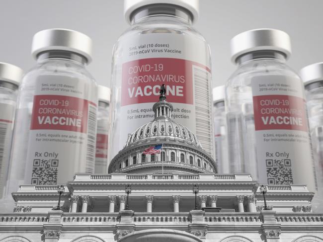 COVID-19 vaccine vials behind U.S. capitol building