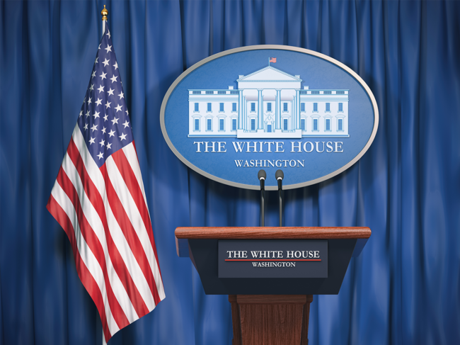 U.S. flag and White House podium